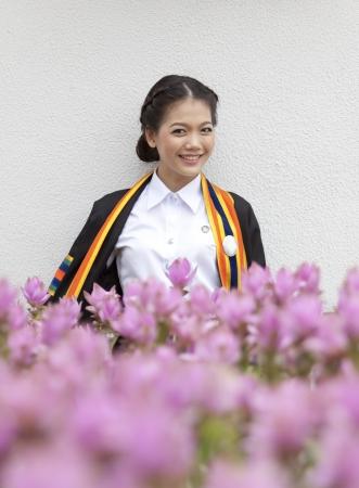 thai teen ager in graduate uniform photo