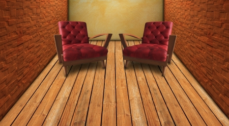 red armchair in home living room vintage style photo