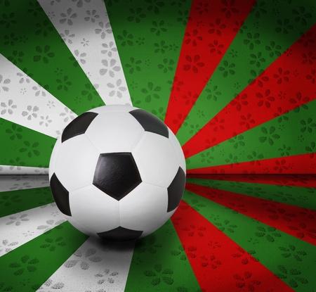 seem: soccer football on color seem italy flag Stock Photo