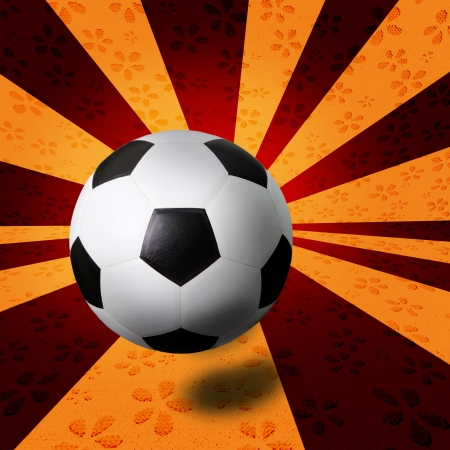 ray background and soccer football  photo