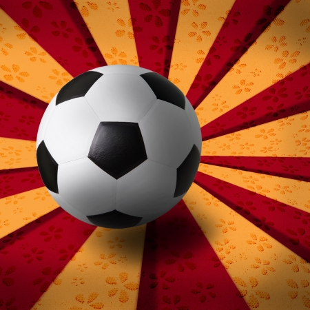 soccer football on red yellow background photo