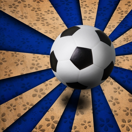 soccer football on blue ray background photo
