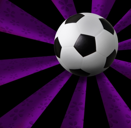 soccer football on purple ray background photo