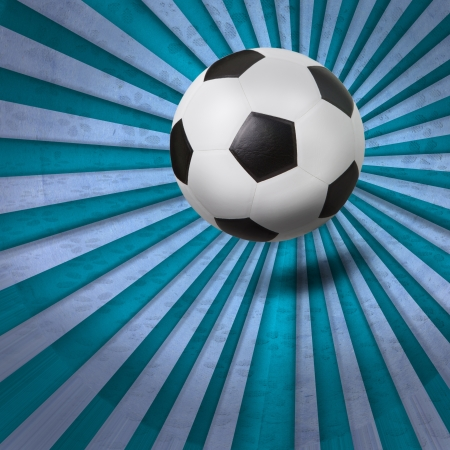 soccer football on colorful ray background photo