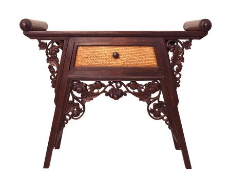 old  thai wood furniture desk isolated white photo