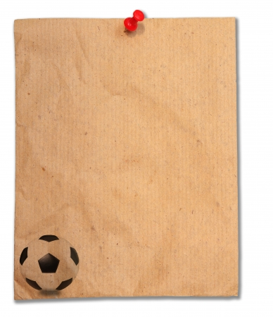 earth tone: shot note pad with soccer football on corner Stock Photo