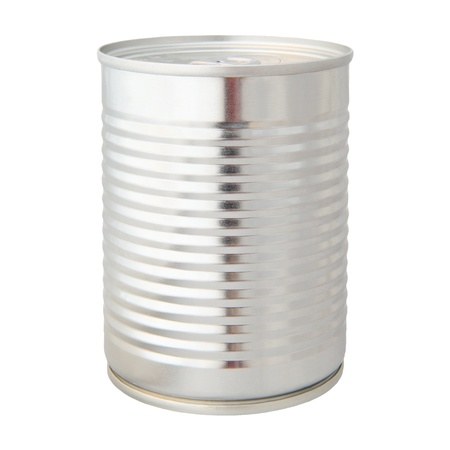 canned goods: real photo of aluminium can isolated on white background Stock Photo