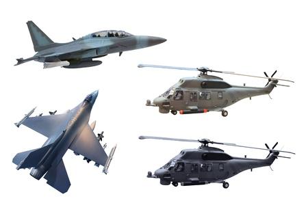 avion de chasse: millitary d'avions et d'h�licopt�res isol� sur blanc