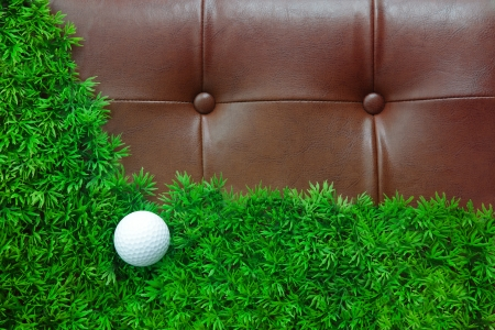 golf ball on green grass and leather background  use as backdrop photo