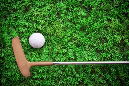 put: putter lied on green grass with golf ball