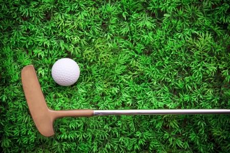 lied: putter lied on green grass with golf ball