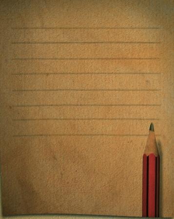 pencil paper: l�piz y el uso de papel antiguo como la breve nota para escribir una palabra