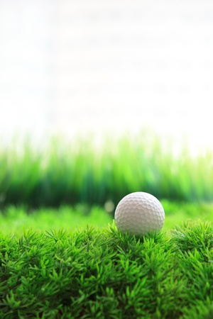 golf ball on green grass field photo
