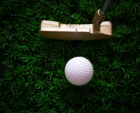 putter: golf ball and putter on green grass
