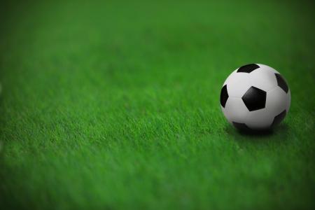 futebol na grama verde no est�dio com linha branca Imagens