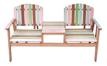 madeira cadeira de jardim isolado no branco