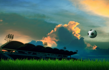 soccer football floating on air and stadium background with colorful sky