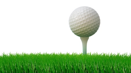 on tee: golf ball on tee and green grass as ground  Stock Photo