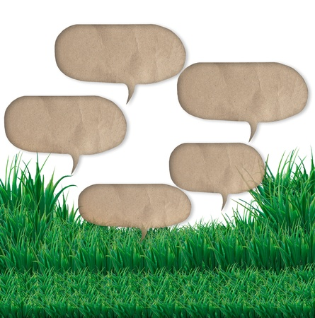 speak out: quote bubble over green grass field