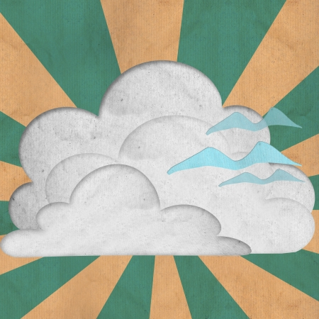 paper cloud and  three birds flying sky palar ray use as background Stock Photo - 15698150