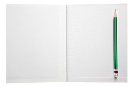 white paper book free space and green pencil  photo