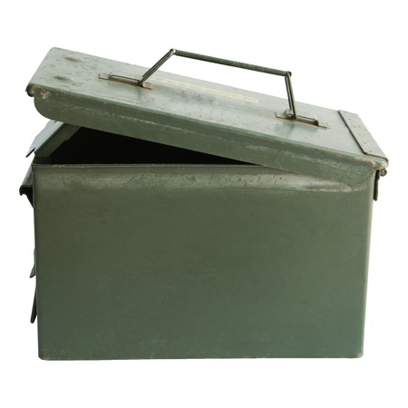 surplus: File of military green metal pistal box open cover isolated on white backgroundd Stock Photo