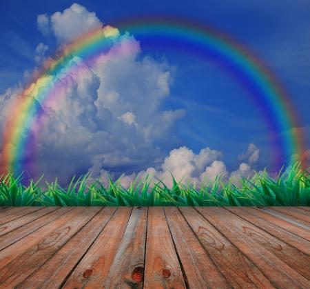 wood terrace and rainbow on the sky Stock Photo - 15754605