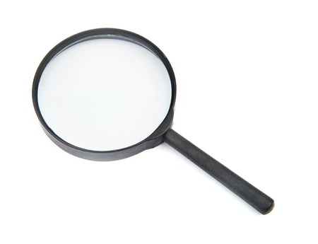 low scale magnification: black wood handle of magnifier  glass on white background