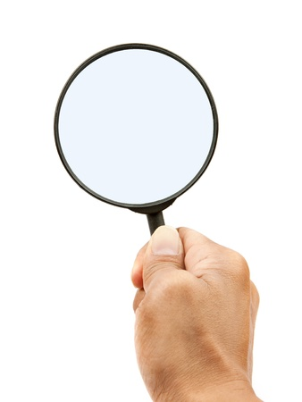 investigate: hand and magnifying glass on white background