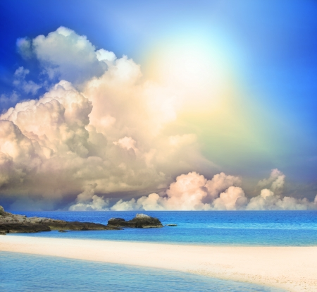 sun shining on blue sky and sand beach with nobody Stock Photo - 15911919