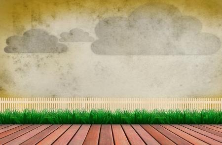 terraço de madeira e cloud na parede