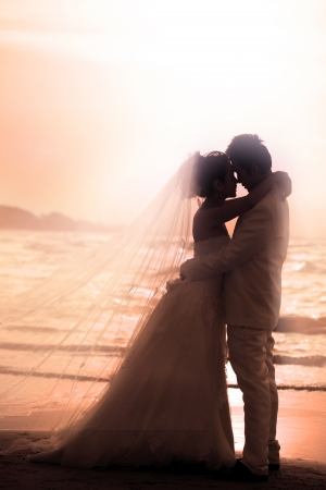 wedding suit: bride and groom holding and hug at sea side in dusky time  Stock Photo