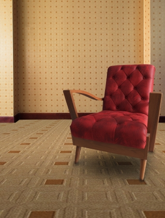 red sofa: red arm chair in vintage living room