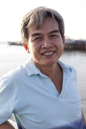 smilling: 49 years old of good health asian man with smilling face to camera