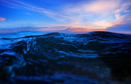 sea water splashing with dramatic colorful sky in evening Stock Photo - 17054821