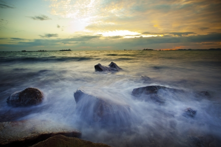 dusky: sea coast dusky time  Stock Photo