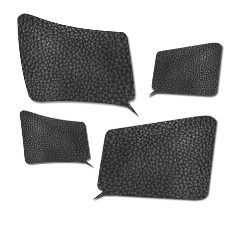 conversing: four size of Speech Bubbles made from texture of black leather with drop shadow on white background