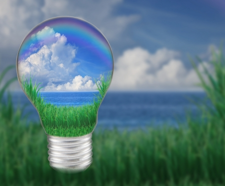 seem: blue water with blue sky white clouds in light bulb seem save nature and good environment