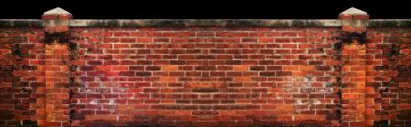 no boundaries: old brick wall isolated black background  Stock Photo