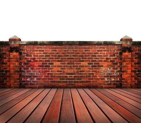 old brick wall wood terrace with blue sky backgrund use for home and related Stock Photo - 17796338