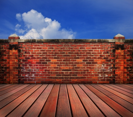 old brick wall wood terrace with blue sky backgrund use for home and related Stock Photo - 17796341