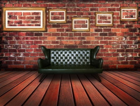 luxury leather sofa in vintage room use for interior background Stock Photo - 17796339