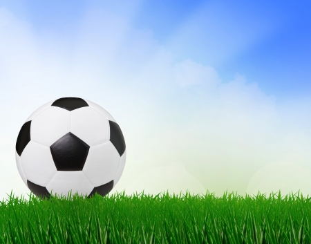 premier league: soccer football on green field with blue sky background  use for sport scene  Stock Photo