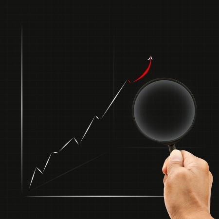 hand and magnifying on business graph use for office meeting Stock Photo - 17947899
