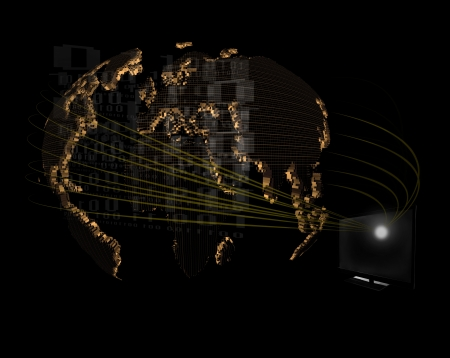 computer monitoring and world network map on black photo