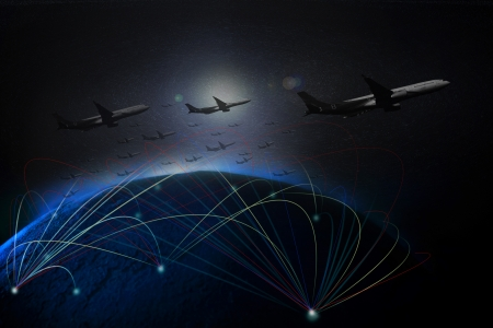 far off: air plane flying over earth space by low key light Stock Photo