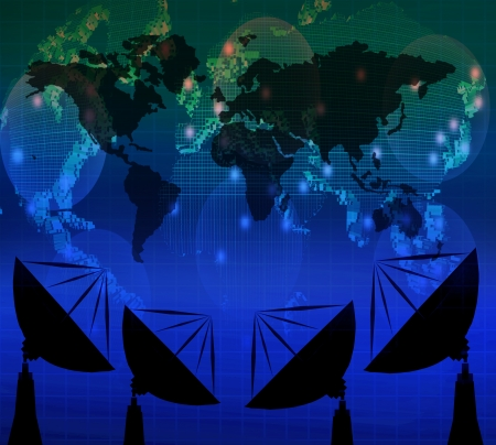 satelite: satelite dish and world map on blue color theme use for multipurpose Stock Photo
