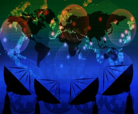 antena parabólica y el mapa del mundo en el uso de azul color para usos múltiples