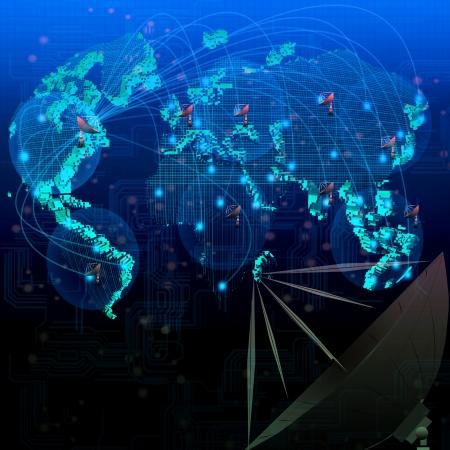 mundo de las telecomunicaciones por satélite uso escena de telecomunicaciones