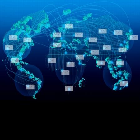 tele: white envelope and blue world map